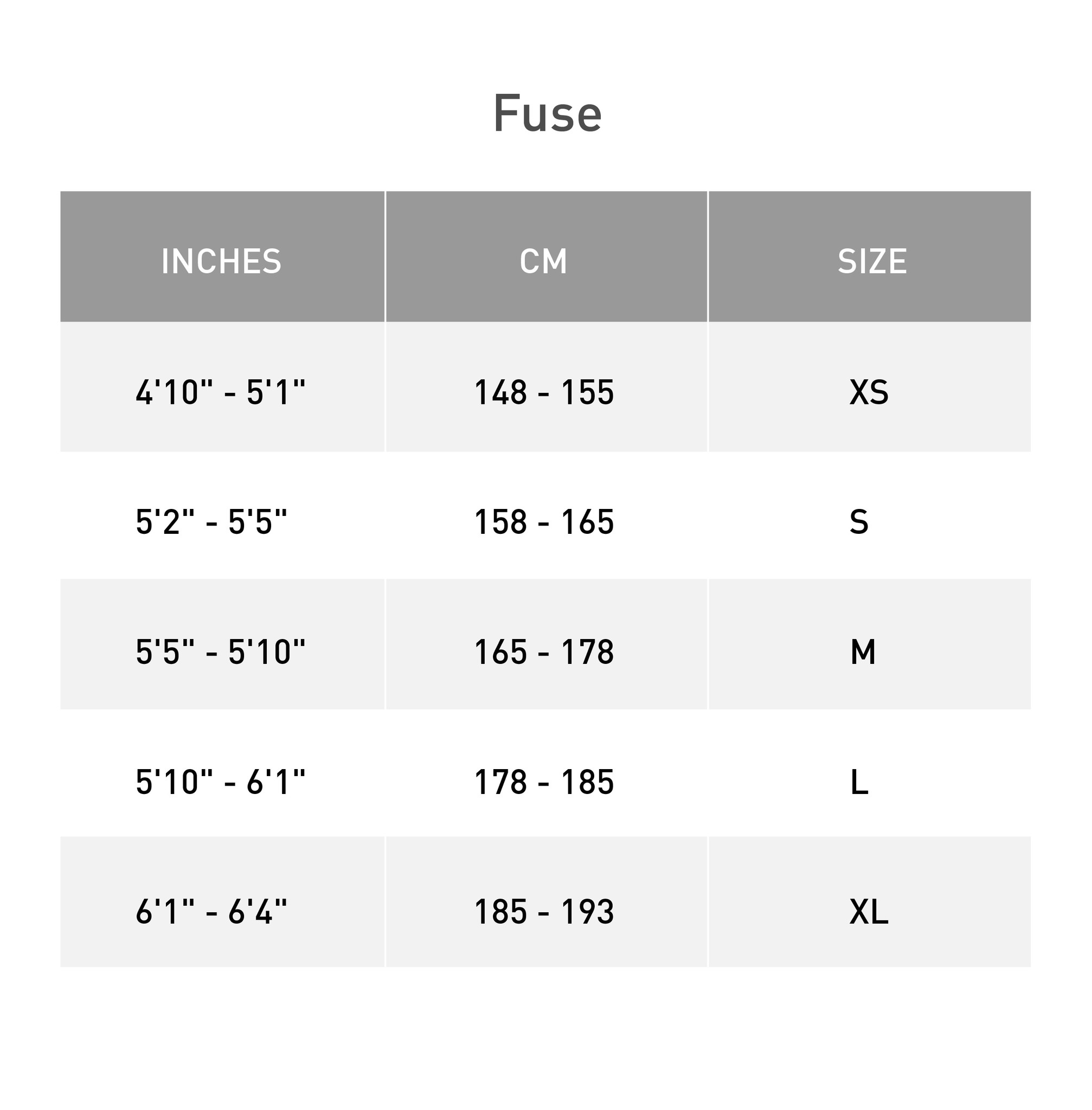 Size Chart for Specialized Fuse 27.5