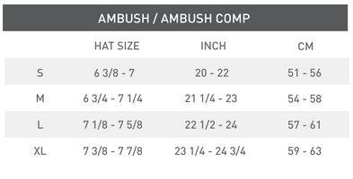 Helmet Size Chart for Ambush Helmet