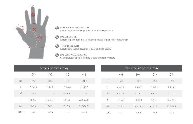 Specialized Body Geometry Glove Size Chart
