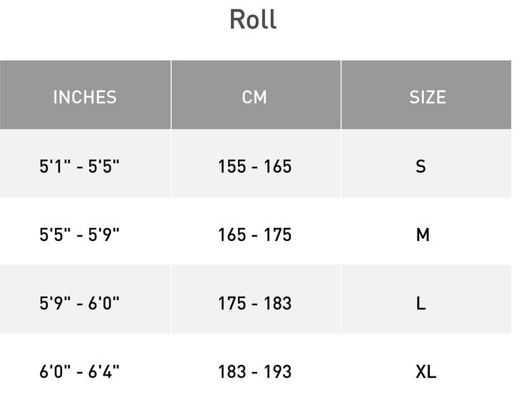 Roll Size Chart