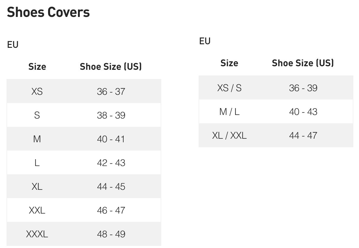 Shoe Cover Size Chart
