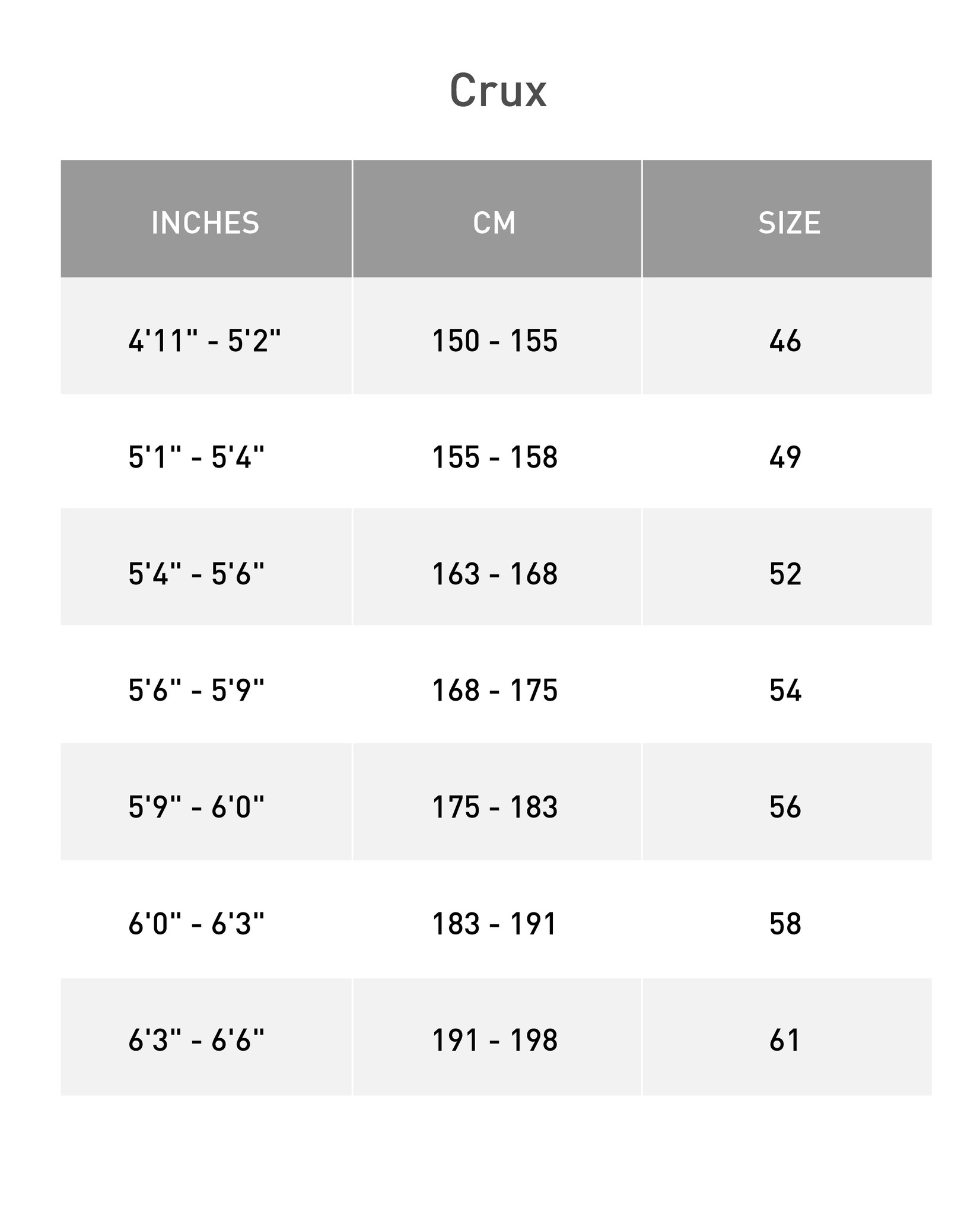 Crux Size Chart