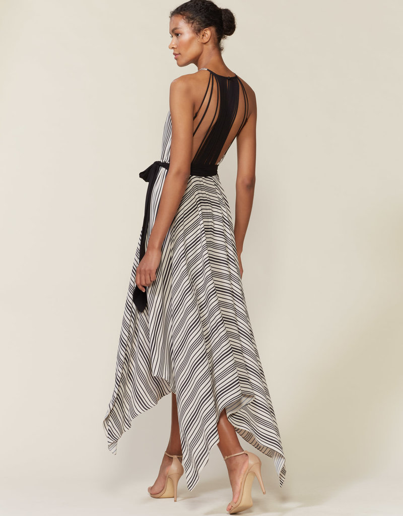 HALSTON The Strip Back Striped Gown