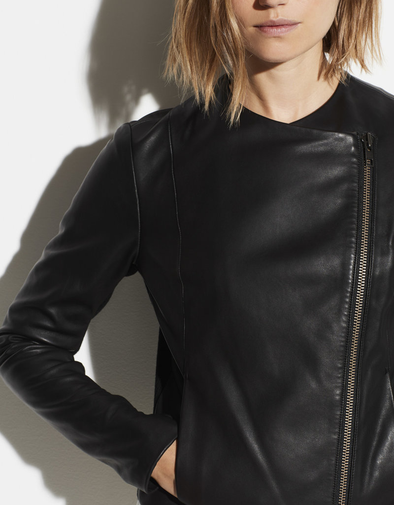 VINCE RTW The Rib Panel Leather Jacket
