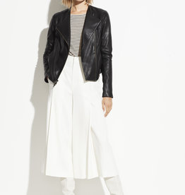 VINCE RTW The Rib Panel Leather Jacket