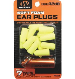 Walker's Walker's Soft Foam Ear Plugs w/case-Yellow