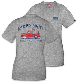 Simply Southern SIMPLY SOUTHERN UNISEX, RAISED RIGHT, YOUTH LARGE, SHORT SLEEVE