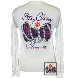 Girlie Girl Girlie Girl Clemson Stay Classy White Long Sleeve Women's 2xl