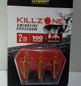 NEW ARCHERY PRODUCTS NAP Killzone Swingfire CROSSBOW 100 Grain 3 Pack Broadheads