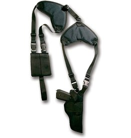 BULLDOG CASES Bulldog Deluxe Shoulder Holster, Horizontal w/Double Mag Holder - 3-4in : WSHD12