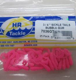 HR Tackle HR Tackle 3/4'' Sickle Tails Bubblegum 25 Pack