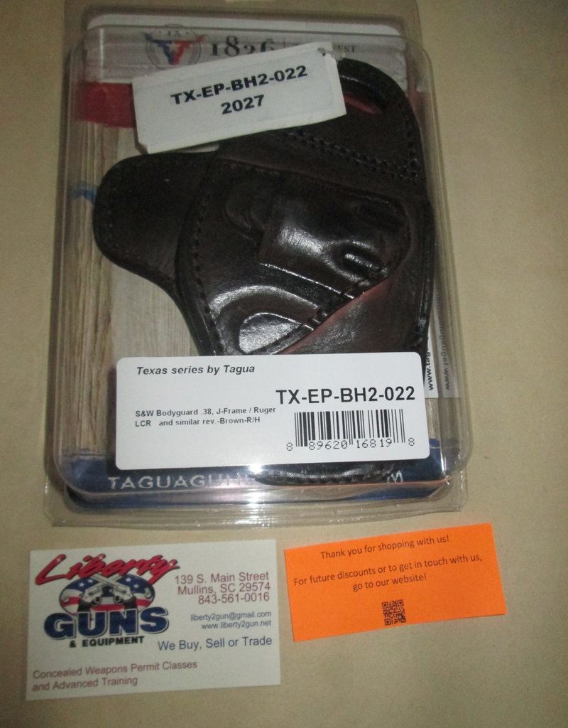 TAGUA GUNLEATHER TX-EP-BH2-022 Fort Holster S&W J Frame/ Ruger LCR/  Bodyguard 38, Rt Hd, Brown