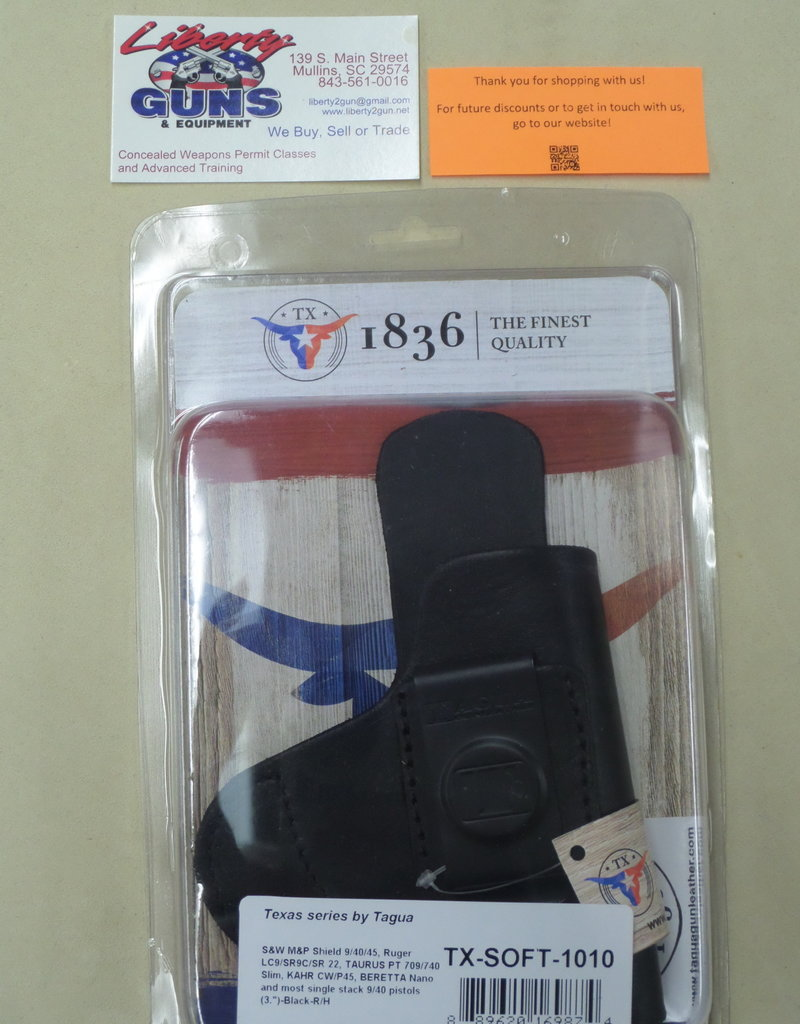 TAGUA GUNLEATHER Tagua Texas Series Soft, Black holster TZ-SOFT-1010