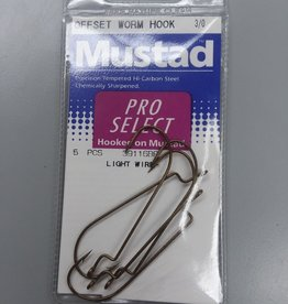 Mustad Mustad Precision Tempered Ho-Carbon Steel Offset Worm Hooks Size 3/0