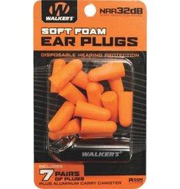 Walker's Walker's Soft Foam Ear Plugs w/case-Orange