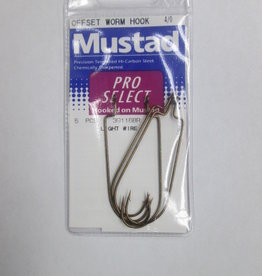 Mustad Mustad Pro Select Offset Worm Hook Size 4/0 Qty 5 39116BR