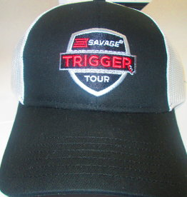 Savage Arms Company Savage Trigger Tour Trucker Mesh Hat, Black w/ White Mesh