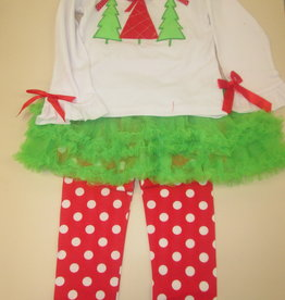 Unbranded Girls 2T Christmas Outfit Christmas Tree Shirt,Tutu With Pants Attached