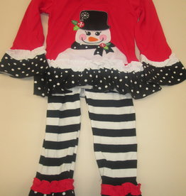 Unbranded Girls 3T Snowman Ruffled Christmas Outfit