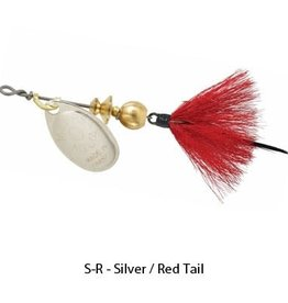 Mepps Aglia B0ST Dressed Treble Spinners by Mepps S-R - Silver / Red Tail