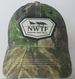 NWTF Camo Hat With Navy Mesh Backing, NWTF Patch