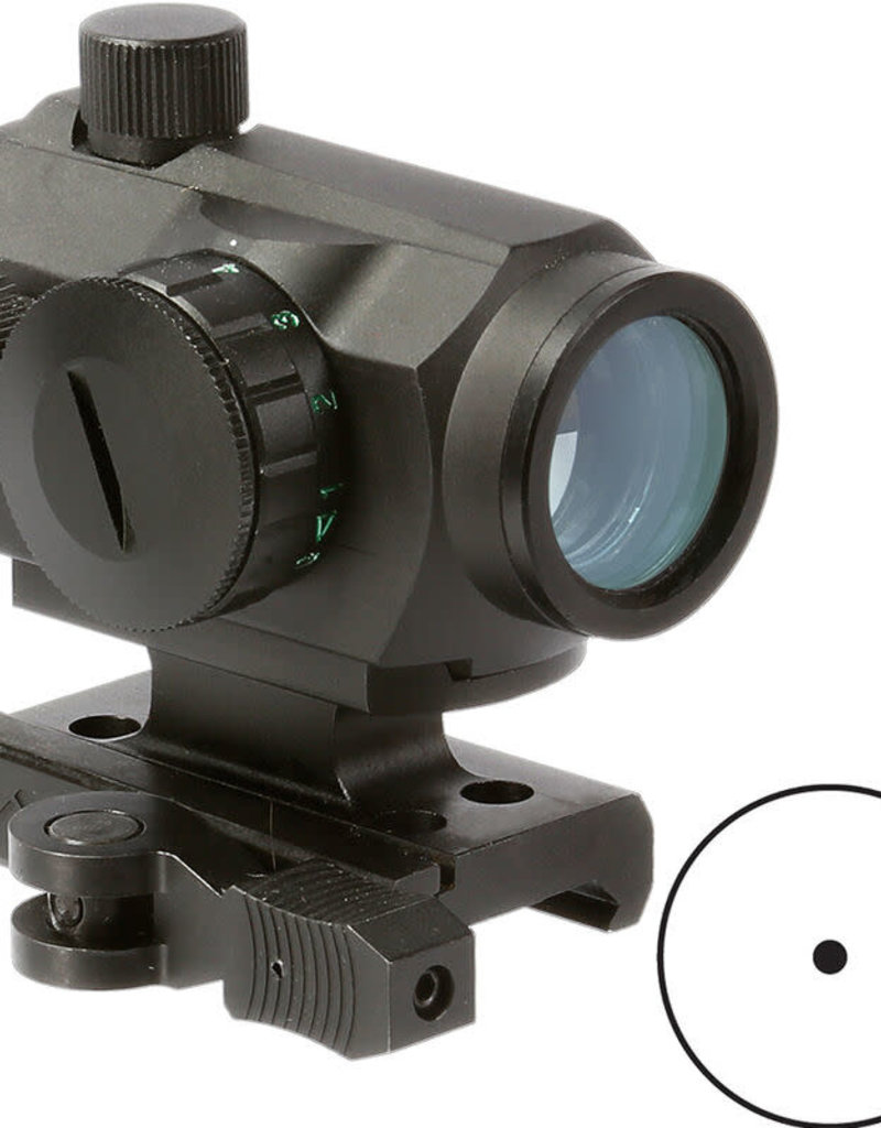 Aim Sports Micro Dot Sight 1x20mm Red/Green Dot Reticle with QD Absolute Co-Witness Riser Aluminum Blk
