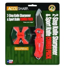 Accusharp Knife and Tool Sharpeners AccuSharp Orange/Black 2-Step Knife Sharpener And Folding Knife Combo 045C