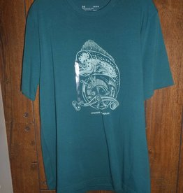 Under Armour UNDER ARMOUR BLUE/GREEN SHIRT WITH FISH ON IT SIZE LARGE