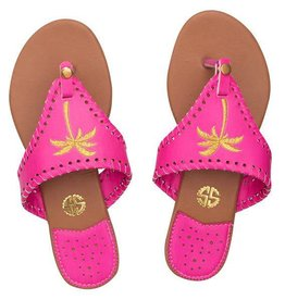 Simply Southern Simply Southern Sandals Pink with Gold Palm Tree Size 9