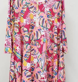 Simply Southern SIMPLY SOUTHERN TUNIC LEAVES PINK AND COLORFUL SIZE SMALL