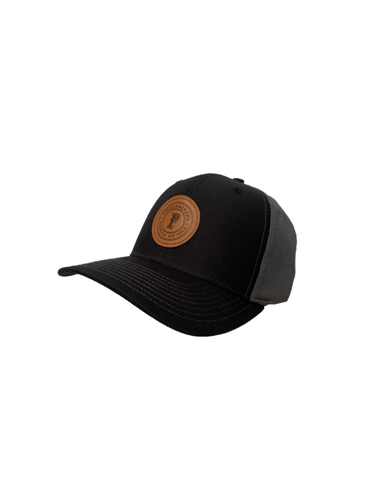 Leather Patch Snapback (Black/Charcoal)