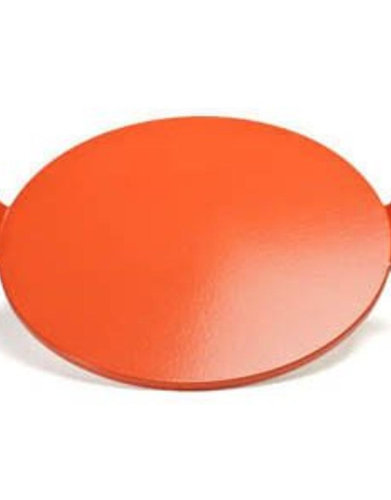 """Round Glazed Pizza Stone with Handles / 14.5"""" - Red"""