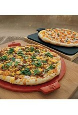 """Pizzacraft Round Glazed Pizza Stone with Handles / 14.5"""" - Red"""