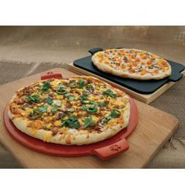 "Pizzacraft Round Glazed Pizza Stone with Handles / 14.5"" - Red"
