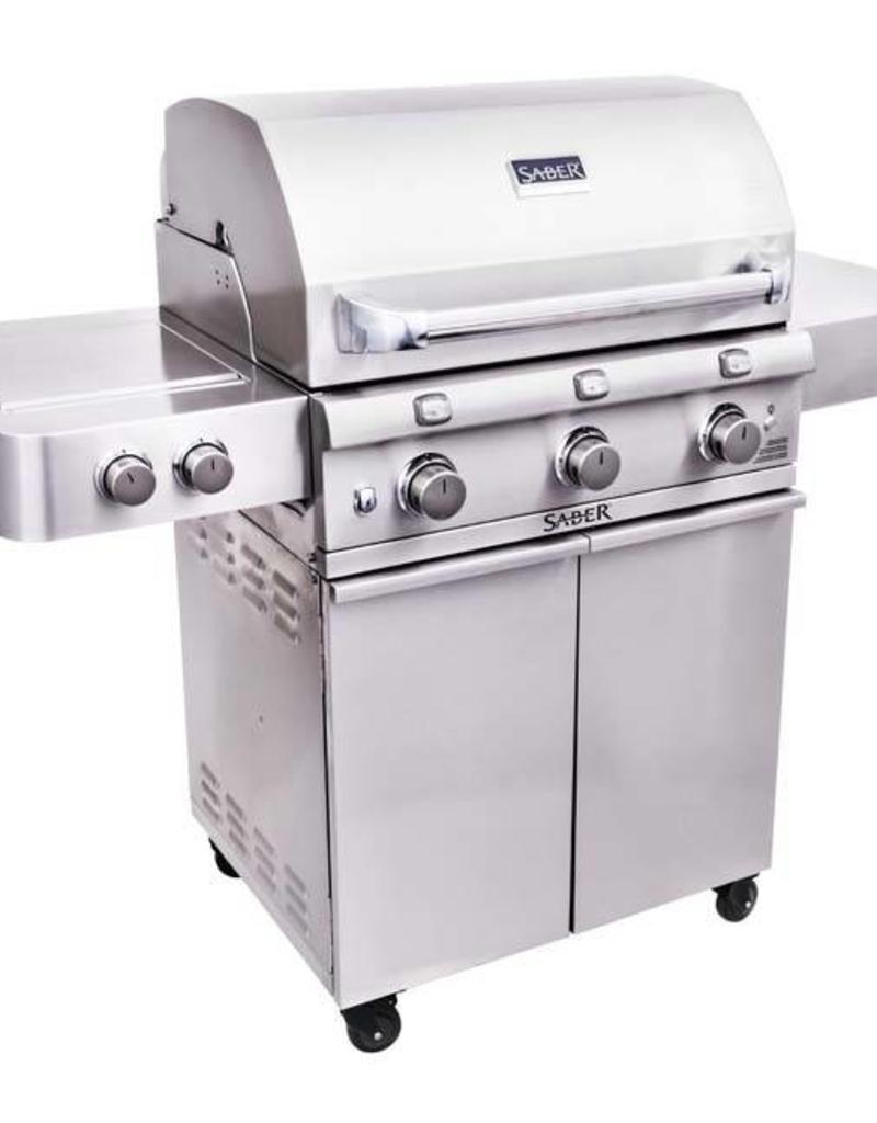 Saber Grills SABER 500 3 Burner Cart Grill with Side Burner - Stainless Steel - LP