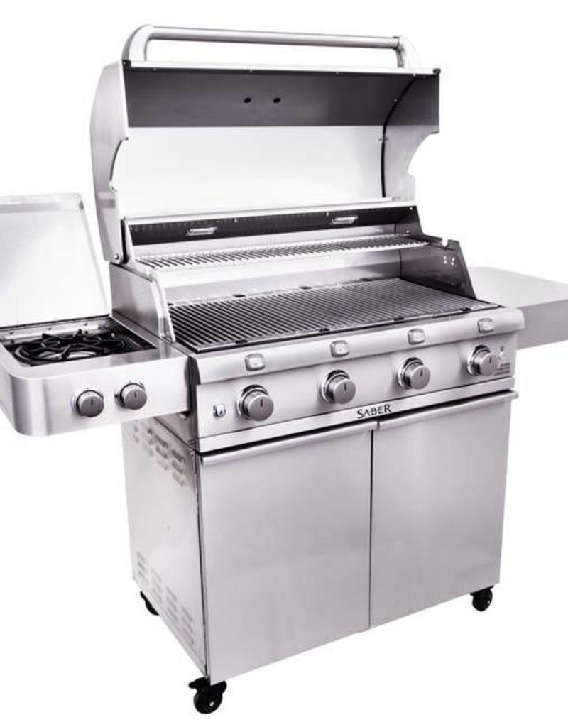Saber Grills SABER 670 4 Burner Cart Grill with Side Burner - Stainless Steel - LP