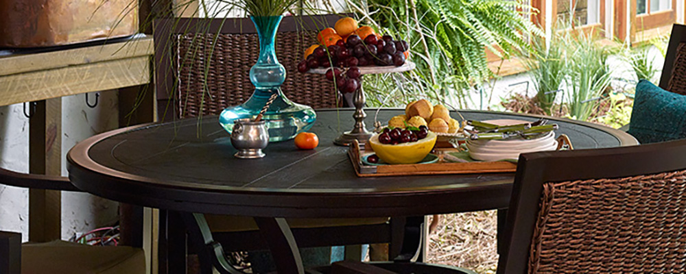 Portica Embossed Outdoor Patio Table Lifestyle