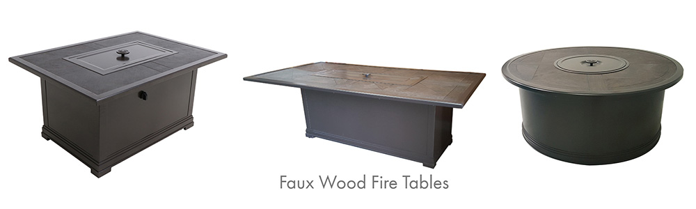 Portica Faux Wood Slat Fire Table