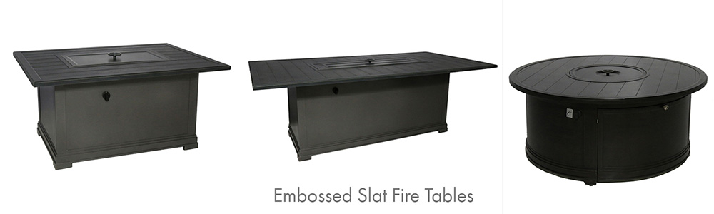 Portica Outdoor Embossed Slat Fire Tables
