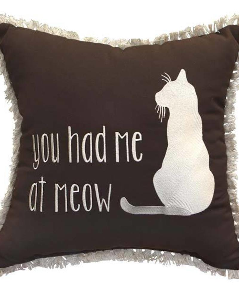 Inspired Visions Inspired Visions 18 x 18 Inch You Had Me at Meow Outdoor Pillow in Sunbrella Canvas Bay Brown