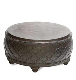 Inspired Visions Inspired Visions Moroccan Cast Stone 12 Inch Round Drum Accent Table in Espresso