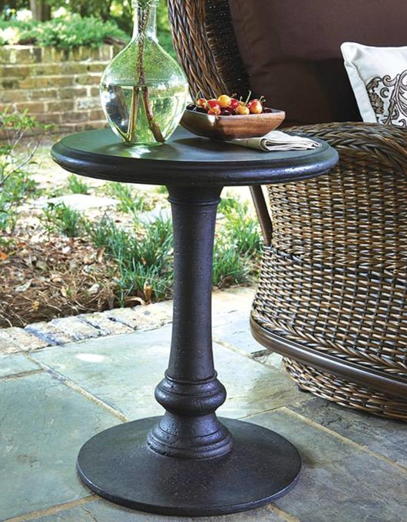 Inspired Visions Inspired Visions Cast Stone 20 Inch Round Occasional Table in Cocoa