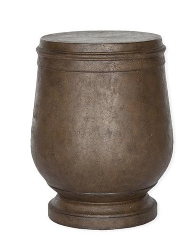 Inspired Visions Inspired Visions Hudson Cast Stone 17.5 Inch Round Drum Accent Table in Cappuccino