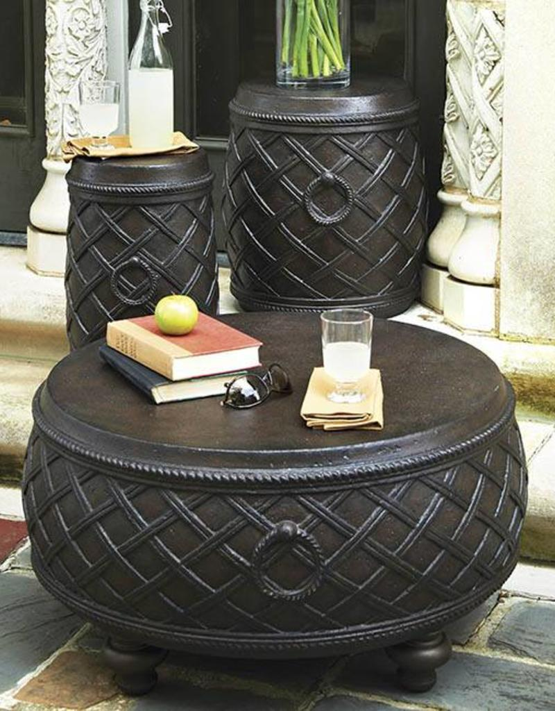 Inspired Visions Inspired Visions Moroccan Cast Stone 17 Inch Round Drum Accent Table in Espresso