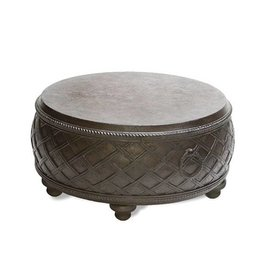 Inspired Visions Inspired Visions Moroccan Cast Stone 32 Inch Round Coffee Table in Espresso