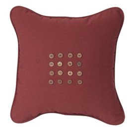 Inspired Visions Inspired Visions 16 x 16 Inch Sixteen Button Outdoor Pillow in Sunbrella Canvas Henna