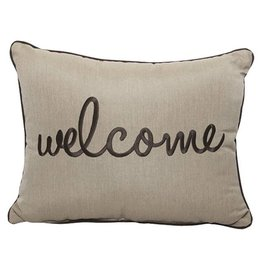 Inspired Visions Inspired Visions 16 x 20 Inch Welcome Outdoor Pillow in Sunbrella Canvas Heather Beige