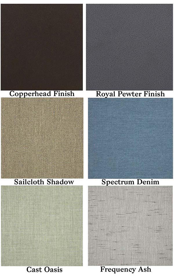 Portica by Sunvilla Frame Finishes and Stocked Fabrics