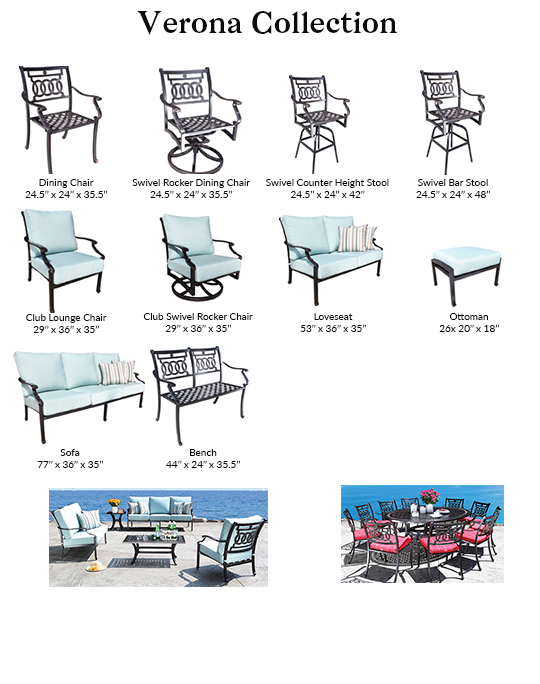 CabanaCoast Verona Cast Aluminum Patio Dining and Outdoor Seating