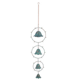 LED Verdigris Flower Battery Operated Light-up Hanging Decor with Remote